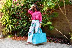 Print, pattern & colour | SZ Blockprints  top  &  trousers ,V by Townsley  bag ,vintage sunglasses | JasmineHemsley.com Retro Dress, Fancy Dress, Jasmine Hemsley, Holding Onto You, Wide Trousers, Vintage Sunglasses, Have A Laugh, Blue Bags, Vintage Shops