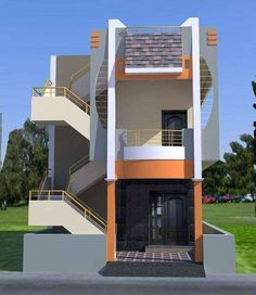 elevations of residential buildings in indian photo gallery Bungalow House Design, House Front Design, Small House Design, Modern House Design, Bungalow Exterior, Modern Bungalow, Building Elevation, House Elevation, Front Elevation