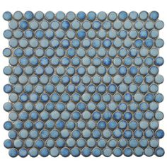 "Penny Mosaic  $59.95 for 10 sheets.  Transform your bathroom into a tranquil countryside retreat with these chic porcelain tiles.    Product: 10 Sheets of tile  Construction Material: Porcelain  Color: Blue  Features:  Glazed finish  Smooth finish with high gloss and uniform appearance  Easy to install  Dimensions: 12"" x 12.25"" each  Shipping: This item ships small parcel"