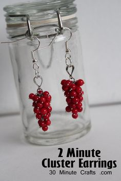 Minute Cluster earrings from 30minutecrafts.com.  I have used this idea  many times - the bead aisle at the craft stores can have some great bead clusters to use.