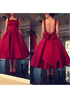 Buy discount Graceful Satin Square Neckline Tea-length Ball Gown Homecoming Dresses With Bowknot at Magbridal.com