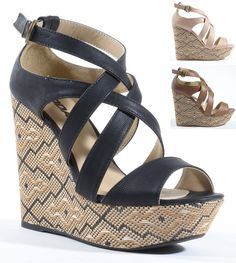 Step out in these lovely platform wedges! It features open toe front, beautiful tribal print covered platform, and wedge heel. Finished with lightly padded insole and adjustable ankle strap with buckl