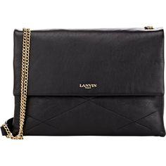 Lanvin black supple grained lambskin quilted Sugar shoulder bag. Gold-stamped logo at flap front, gusseted sides, zip pocket at back, brasstone hardware . Line…