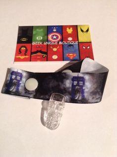 Dr Who Tardis Baby Boy Girl Geek Dummy Clip