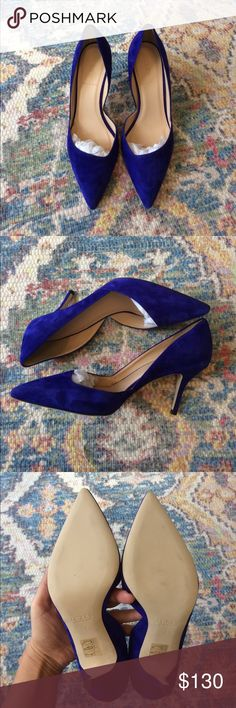 Suede D'Orsay Heels in Brilliant Purple 7 Comfy and beautiful shoes from J. Crew. I own several pairs of this line and they are really comfy. The heel is not too high so I can wear them all day.  Material: Suede  Color: Mix between a royal blue and purple  Heel height: Approximately 2.5 to 3 inches  Country: Italy New in box with duster J. Crew Shoes Heels