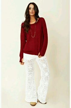 LOVIN these Crochet pants with drawstring..paired with a cool yet comfy Red sweater...by Planet Blue <3