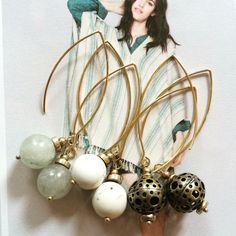 Earrings Gemstones & Bronze filigran