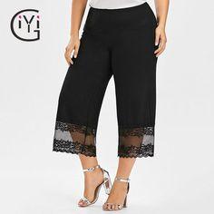 Lace Trim Wide Leg Pants