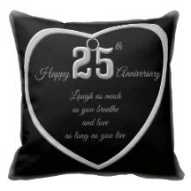 Black and Silver 25th Anniversary Pillow Pillow
