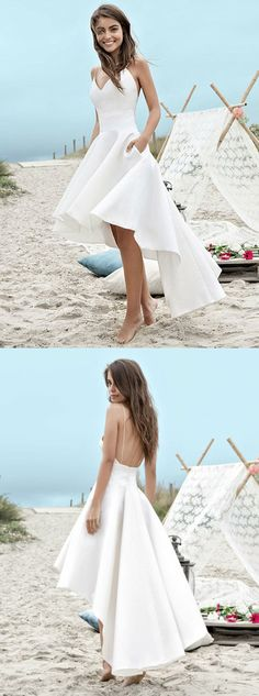 simple white wedding dresses,high low birdal gowns, backless beach wedding dress