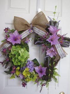 SALE Easter Wreath Easter Cross Hydrangeas Purple Lilies