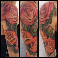Peach colored realistic roses by @timmcevoytattoos- #webstagram