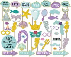 Mermaid Photo Booth Props, Printable Mermaid Photo Booth Props, Instant Download Mermaid Photo Booth Props, Mermaid Party, Mermaid Birthday by abbeygatedesigns on Etsy