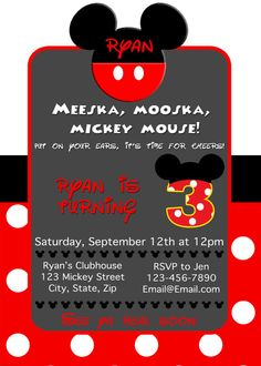Mickey Mouse Birthday Invitation Mickey by LittleGermanBoutique