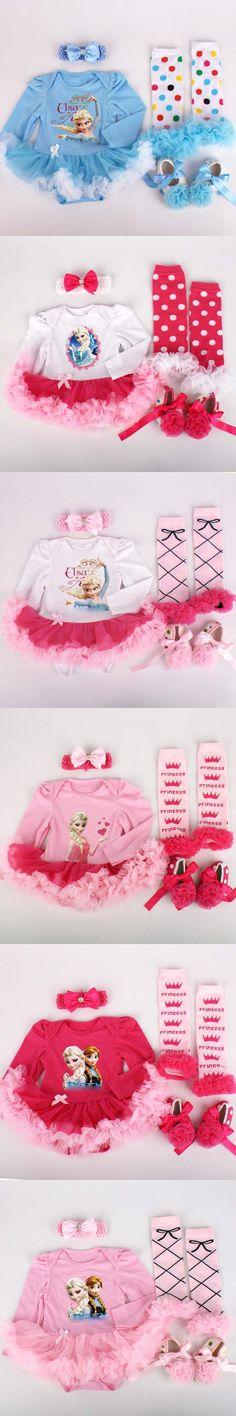 2016 Spring 4PCS/Set Baby Girls Clothing Sets Cartoon Elsa Tutu Rompers Baby Dress Newborn Baby Girl Clothes Infant-clothing
