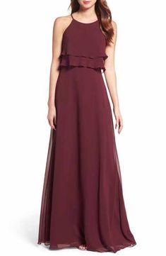 Jenny Yoo Hibiscus Charlie Ruffle Chiffon Bridesmaid Gown Long Formal Dress Size 6 (S) Chiffon Ruffle, Chiffon Gown, Ruffles, Laura Lee, Revealing Dresses, Breastfeeding Dress, Long Bridesmaid Dresses, Bridesmaids, Long Dresses
