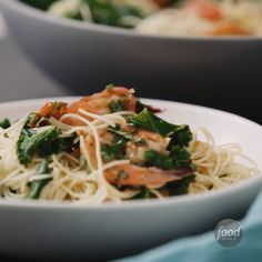 Recipe of the Day: Angel-Hair Pasta with Shrimp and Greens Here's the trick to making carbs your friend and not your foe: Balance them out with protein. Shrimp is an excellent choice, as a dozen of them is just 85 calories. And what that really means is you'll have extra calories in the bank for holiday cookies!