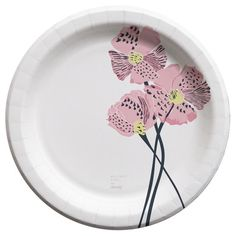 "Whitney Port for Cheeky® 10"" Pink Poppies Paper Plates 