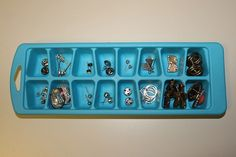 Keep earrings and brooches organized in ice cube trays
