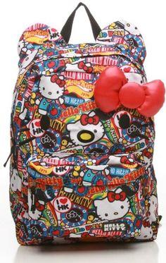 803130c970 Amazon.com  Hello Kitty Stickers Print 3D Bow Nylon Backpack  Clothing Hello  Kitty