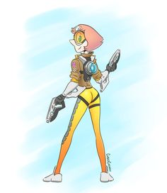 Pearl rocking it as Tracer from Overwatch!