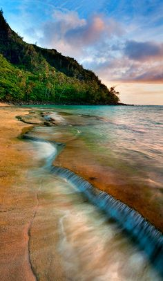~~Kauai Shore ~ dreamy Kee beach on the north shore of Kauai, Hawaii at sunset by Monica and Michael Sweet~~ Hawaii Usa, Kauai Hawaii, Hawaii Travel, Maui, Bali Travel, Usa Travel, Oh The Places You'll Go, Places To Travel, Places Around The World