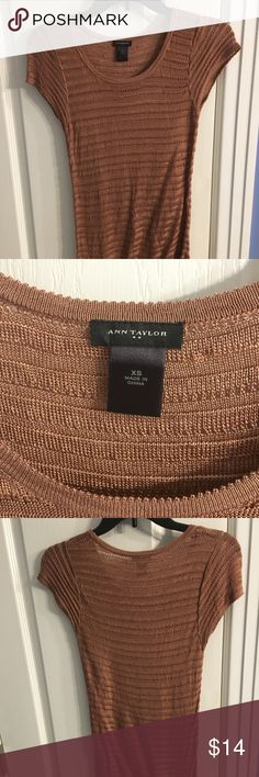 Ann Taylor gorgeous gold top! Comfy gold short sleeved sweater top. Only worn twice. Ann Taylor Tops Blouses