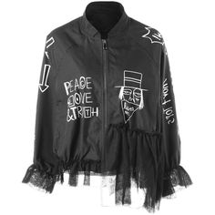 Letter Print Lace Hem Jacket ❤ liked on Polyvore featuring outerwear, jackets, lace jacket and letter jacket