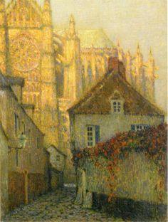 Henri Le Sidaner (1862-1939) La Cathédrale de Beauvais au soleil couchant (1900)