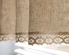 Natural Linen Cotton Cafe Curtain Valance with by HereIsTheShop                                                                                                                                                                                 More