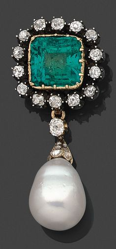 An antique diamond, emerald, cultured pearl, 18K gold and silver brooch, 19th century. Centring a rectangular emerald in closed back setting, surrounded by old-cut diamonds, suspending a pear-shaped pearl of later addition.