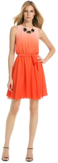 $35, Orange Chiffon Party Dress: Erin Fetherston Erin Malibu Orange Crush Dress. Sold by Rent The Runway. Click for more info: https://lookastic.com/women/shop_items/70971/redirect