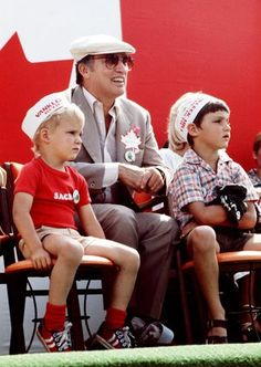 Pierre Trudeau with sons Alexandre (Sacha) (L) and Justin (R) in 1978.