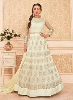 Pretty Atrractive Embroidred Stylish Off-White Colored Suit