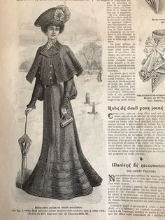 Copies of the French fashion magazine LA MODE ILLUSTREE dated July 1902 and its large sewing pattern sheet with full sized pattern pieces to be traced for the different pieces of clothing shown in the magazine. 1900s Fashion, 19th Century Fashion, Edwardian Fashion, French Fashion, Ladies Fashion, Vintage Fashion, Mourning Dress, Patterned Sheets, Antique Clothing