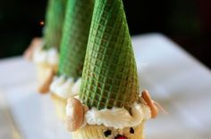 "Cupcake ""Elves"" with ice cream cone hats"