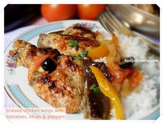 Braised Chicken Wings with Tomatoes, Olives and Peppers
