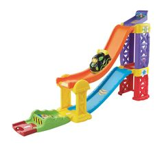 Buy VTech: Toot-Toot Drivers Racing Rampway at Mighty Ape NZ. The Vtech Toot Toot Drivers Racing Rampway lets you gather speed on the super raceway, make astonishing moves on the stunt track or prepare for a new . Toddler Boy Toys, Baby Toys, Kids Race Track, Vtech Baby, Toys Online, Remote Control Toys, Preschool Learning, Toot, Fine Motor Skills