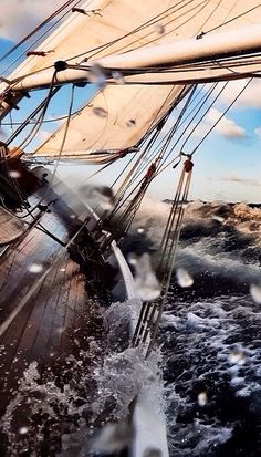 rough sea in classic sailing yacht...