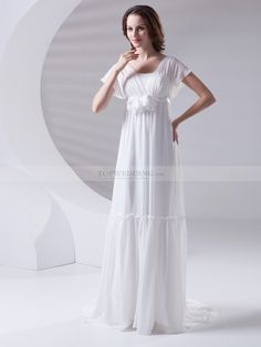 Empire Chiffon Wedding Dress with Butterfly Sleeves with Flower Detail