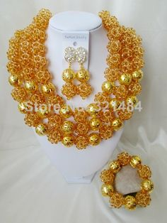 Fashion Champagne Gold Ball Crystal Nigerian African Wedding Beads Jewelry Set Necklaces CSA001 $98.02