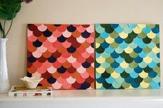 Cut out fun shapes from paint samples and glue or tape in symmetrical pattern onto board or canvas. Hang on wall or set on shelf for a pop of color.