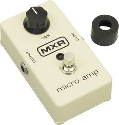 The Micro Amp. Made famous by jack white and beck. people have been using this one since the 70's. It's brighter than the EP Booster...not all the way clean but great after a germanium fuzz and before a medium gain overdrive for a beefier tone.