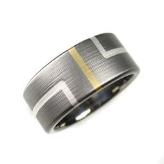Wedding Band Art Deco Titanium Gold Silver Comfort Fit by spexton