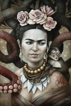 Hommage a Frida Kahlo 3 Art Print by Sophie Wilkins - X-Small Frida Kahlo Artwork, Frida Kahlo Portraits, Kahlo Paintings, Frida Art, Canvas Wall Art, Canvas Prints, Art Prints, Frida E Diego, Diego Rivera