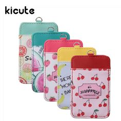 Kicute 1pc Fruit Design Double Slot PU Leather ID Badge Card Holder With Lanyard Office Stationery Card Stand Card Holder #Affiliate