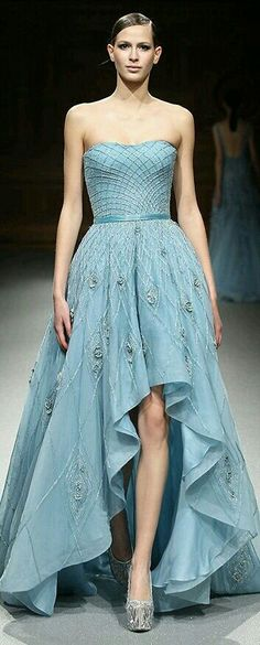 Tony Ward  Pretty color!  But I've never been a fan of the high/low hems...