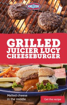 Grilled Juicy Lucy Cheeseburger Grilled cheeseburger recipes don't get much better than this one from Kingsford®. With a delicious gooey cheese center, you'll have the best BBQ burgers in town. Barbecue Recipes, Grilling Recipes, Meat Recipes, Mexican Food Recipes, Cooking Recipes, Bbq Burger, Gourmet Burgers, Barbacoa, Cheeseburger Recipe