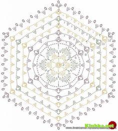 hexagon motif with flower Mandala Au Crochet, Crochet Circles, Crochet Motifs, Crochet Diagram, Crochet Round, Crochet Chart, Crochet Home, Thread Crochet, Crochet Doilies
