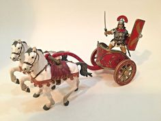 Papo Roman Gladiator / Soldier, Chariot, and 2 horses #Papo